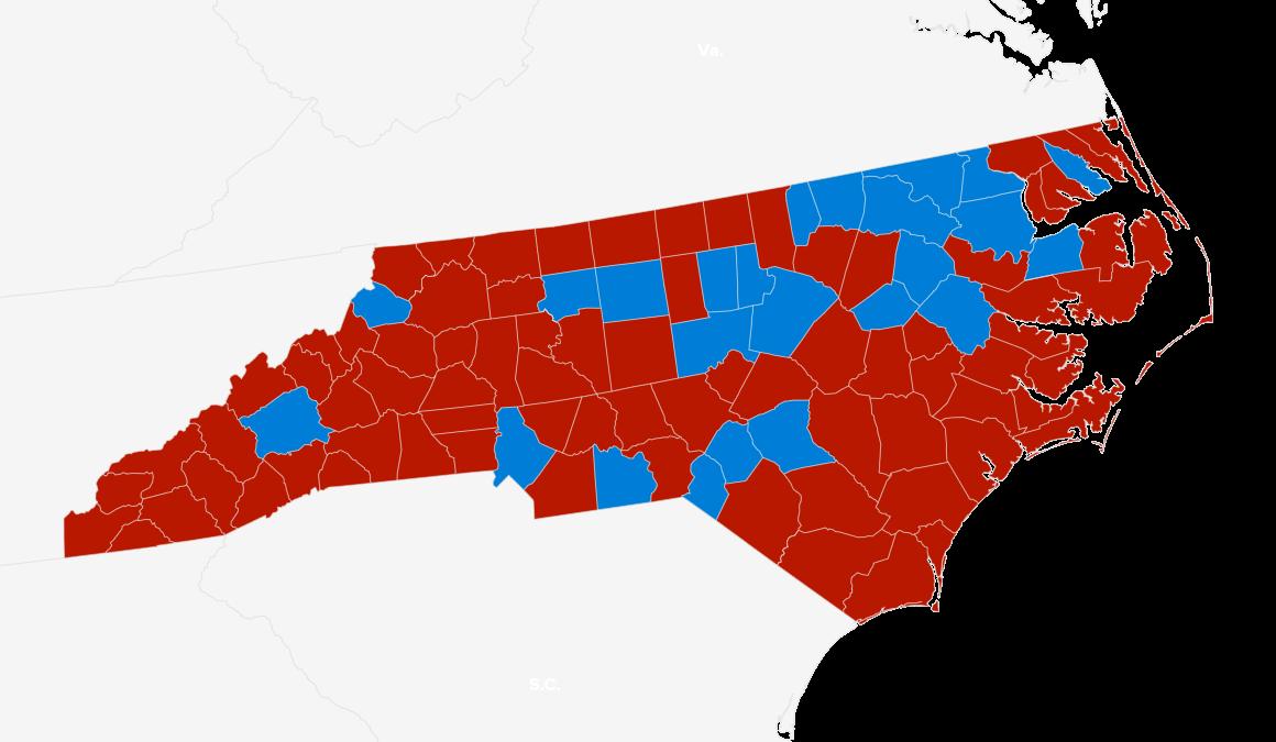 North Carolina red and blue map