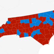 North Carolina red and blue map