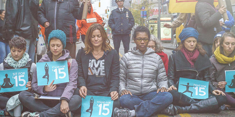 CTZNWELL founder Kerri Kelly at a living wage rally. Source: ctznwell.org